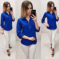 Блузка/блуза - сорочка з ґудзиками на грудях, модель 828 , колір електрик, фото 1