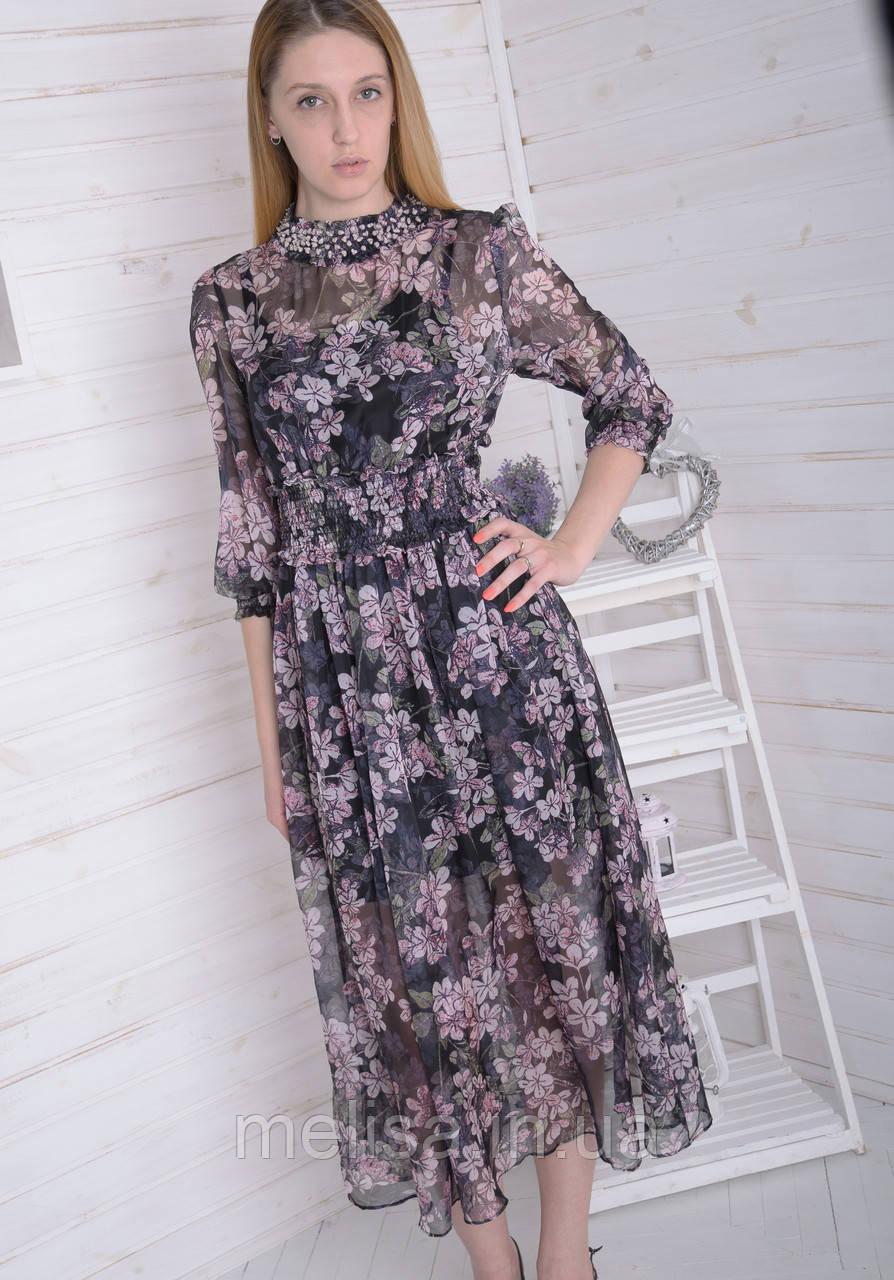 b418c1a26c4 Женское Шифоновое Платье в Цветочек — в Категории