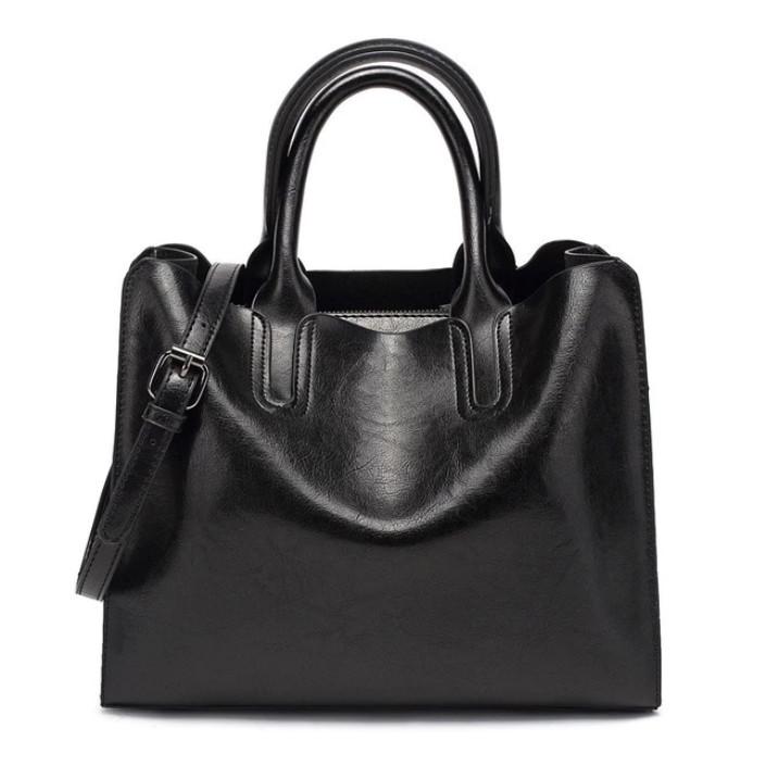 Модная женская сумка шоппер. Сумка тоут женская классическая (черная)