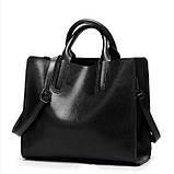 Модная женская сумка шоппер. Сумка тоут женская классическая (черная), фото 2