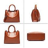 Модная женская сумка шоппер. Сумка тоут женская классическая (черная), фото 3