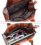Модная женская сумка шоппер. Сумка тоут женская классическая (черная), фото 10