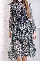 Шифоновое платье с леопардовым принтом