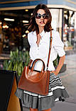 Модная женская сумка шоппер. Сумка тоут женская классическая (черная), фото 6