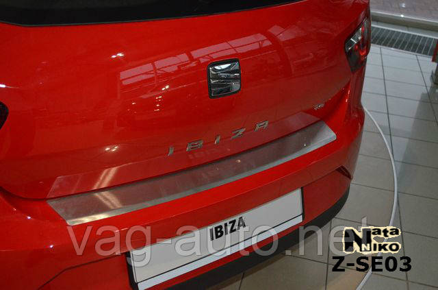 Накладка защитная на задний бампер Seat IBIZA IV 3D FL 2012>> с загибом
