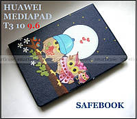 Синий чехол книжка RAY Safebook Birds на Huawei Mediapad T3 10 (9.6) AGS-L09 с рисунком Птички на свидании