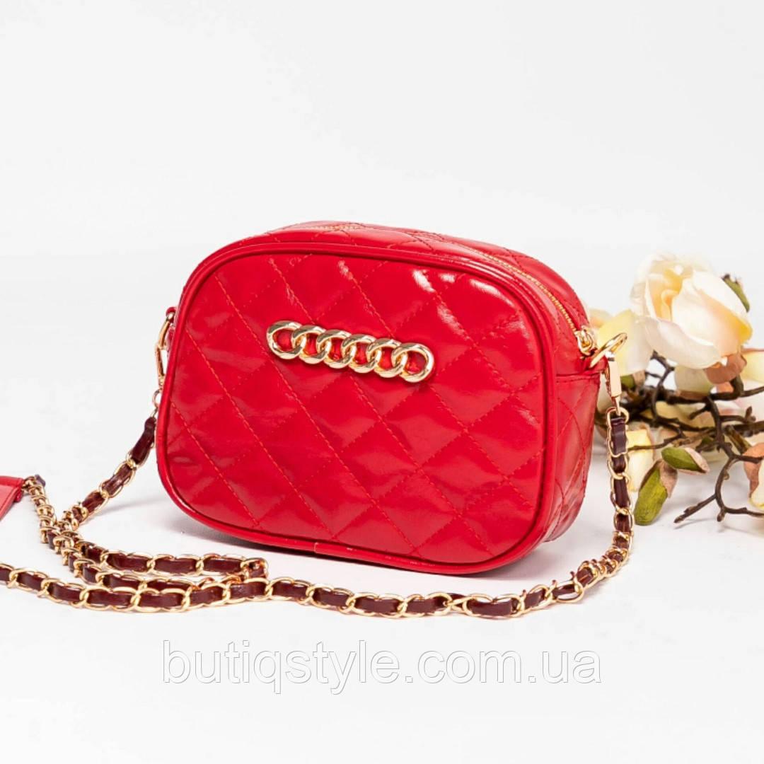 Красивая красная стеганная сумка-клатч на цепочке  PU-кожа, 2019