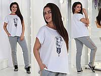 Костюм женский большого размера / хлопок, двунитка / Украина 36-0209-95