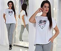Костюм женский большого размера / хлопок, двунитка / Украина 36-0210-95
