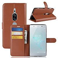 Чехол-книжка Litchie Wallet для Sony Xperia XZ2 Premium H8166 / H8116 Коричневый