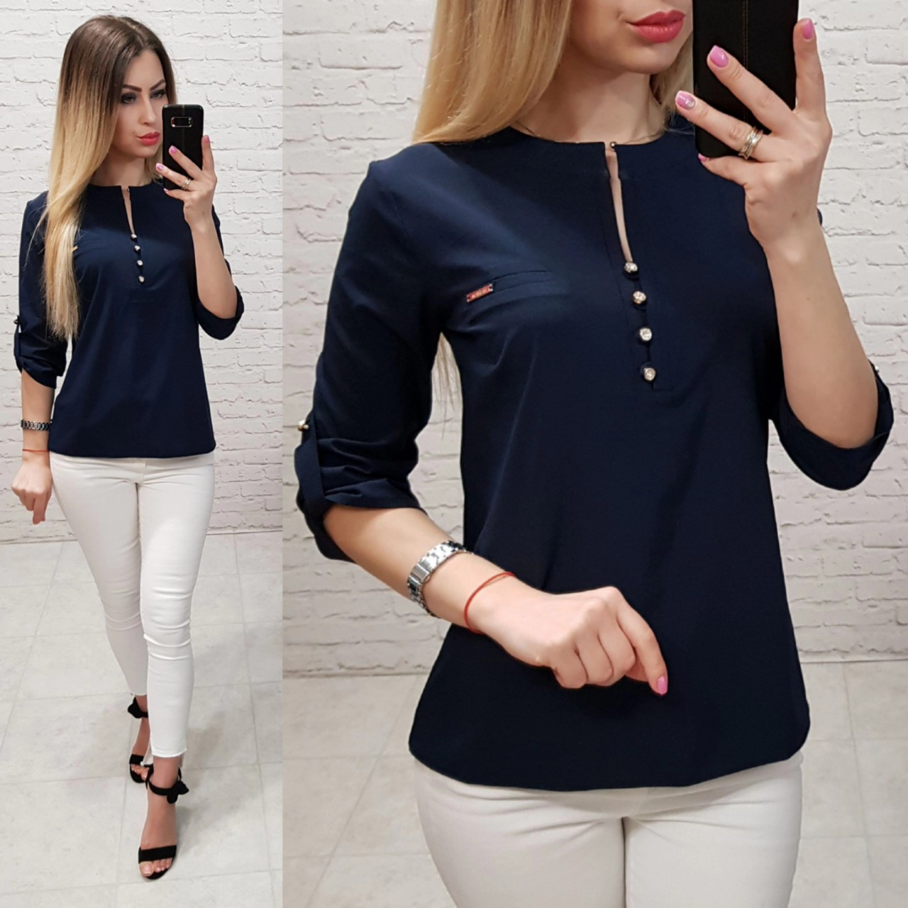 Блузка /блуза с пуговками на груди, модель 830 , цвет тёмно синий