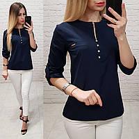 Блузка /блуза с пуговками на груди, модель 830 , цвет тёмно синий, фото 1