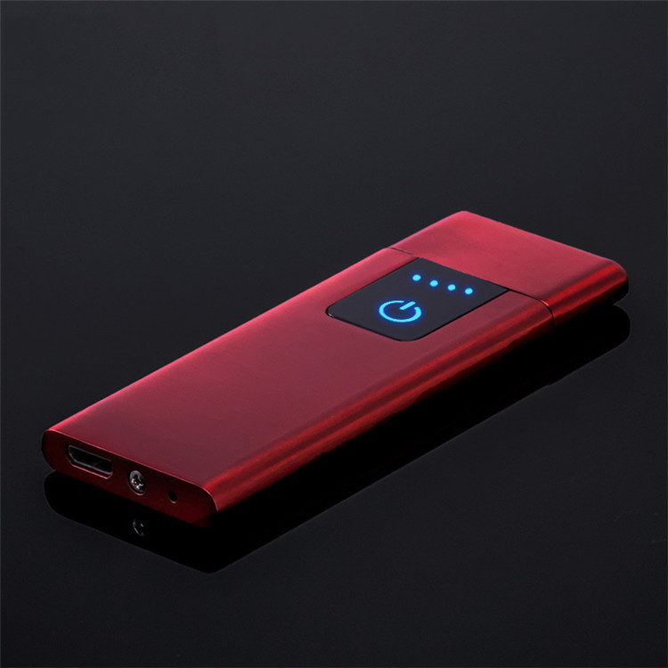Запальничка SUNROZ Ultra Thin портативна електронна акумуляторна USB запальничка Червоний (SUN4100)