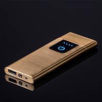 Запальничка SUNROZ Ultra Thin портативна електронна акумуляторна USB запальничка Золотистий (SUN4101)