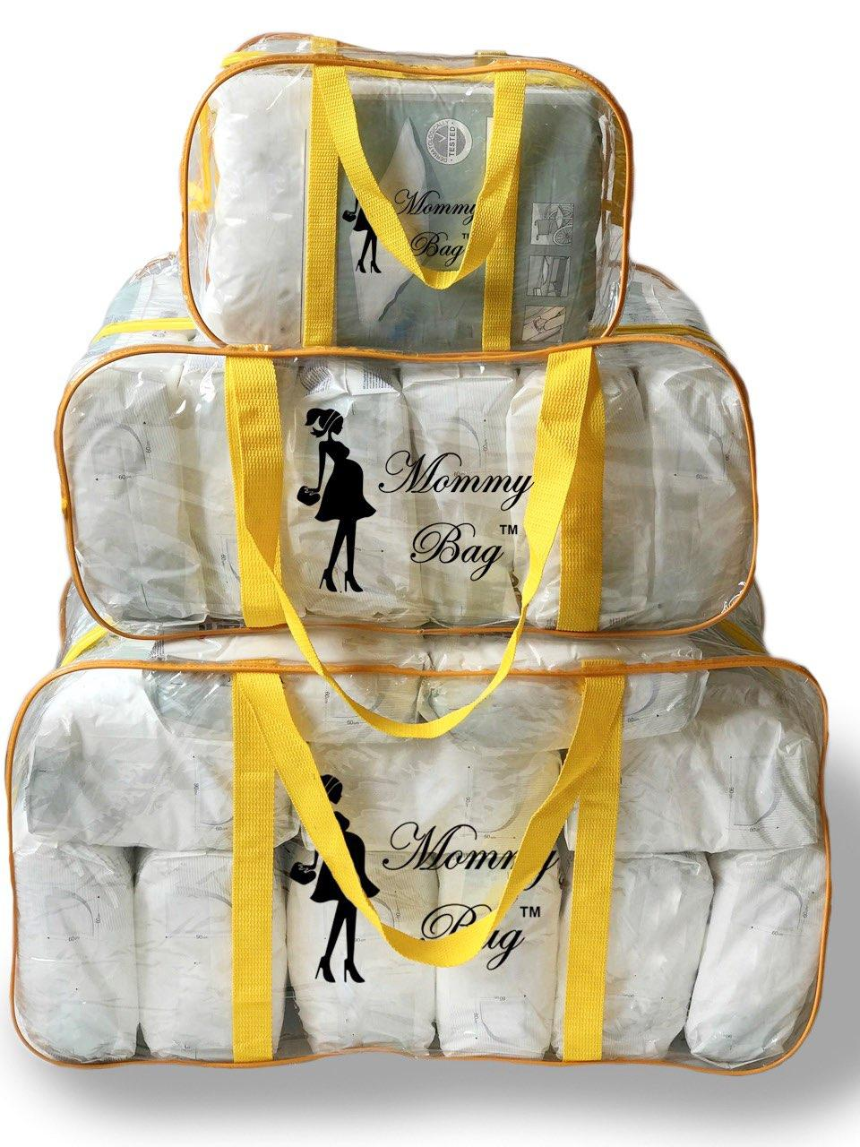 Набор из 3 прозрачных сумок в роддом Mommy Bag - S,L,XL - Желтые