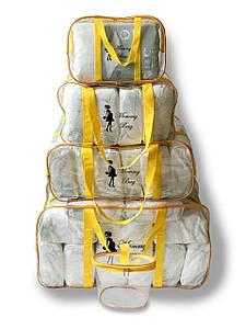 Набор из 4+1 прозрачных сумок в роддом Mommy Bag - S,M,L,XL - Желтые