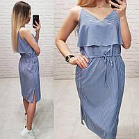 Платье женское с рюшем , модель 163, принт - синяя полоска
