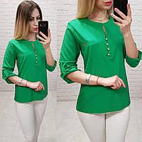 Блузка /блуза с пуговками на груди, модель 830 , цвет зелёный трава, фото 1