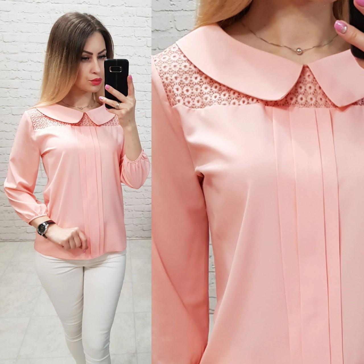 Блуза женская с воротником и кружевом, модель 124, цвет - розовый