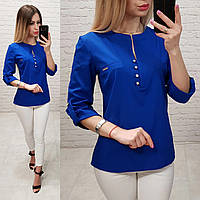 Блузка /блуза с пуговками на груди, модель 830 , цвет электрик