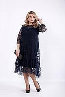 Большое нарядное платье с сеткой синее 62
