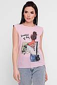 Молодіжна жіноча футболка з цікавим принтом