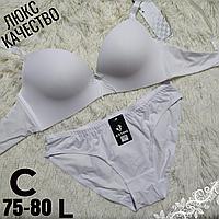 Комплект белья белый женский бесшовный бюстгальтер на 2  крючка чашка (C) 75~80 трусики L   #038