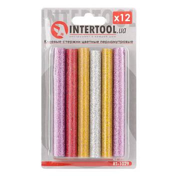 Комплект цветных перламутровых клеевых стержней 11.2мм*100мм, 12шт INTERTOOL RT-1029