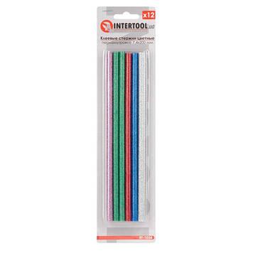 Комплект цветных перламутровых клеевых стержней 7.4мм*200мм, 12шт INTERTOOL RT-1034