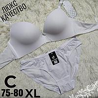 Комплект белья белый женский бесшовный бюстгальтер на 2  крючка чашка (C) 75~80 трусики XL   #038