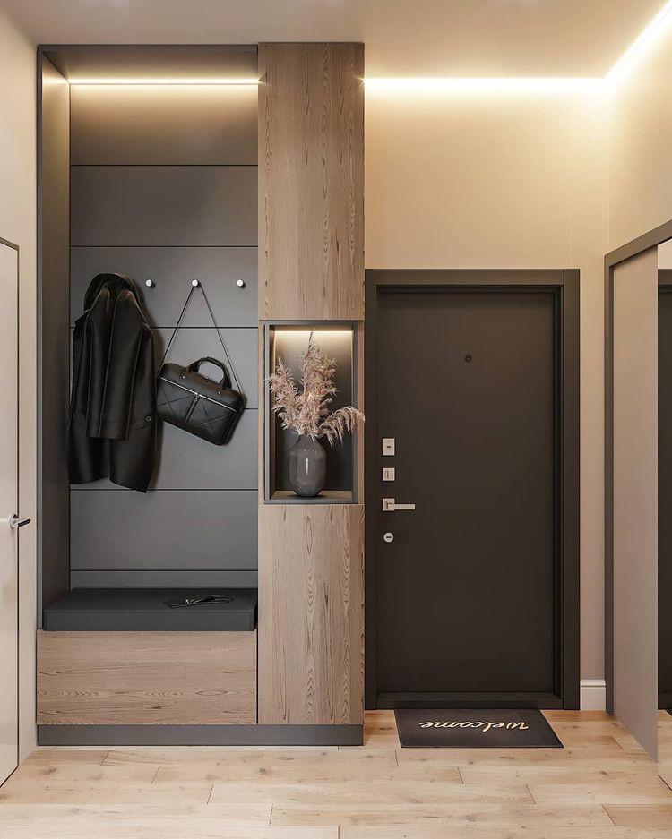 Шкафы для прихожих с мягкой сидушкой и вешалкой