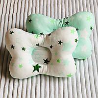Дитяча ортопедична подушка, двохстороння (зірочки в зелених тонах) 25х28 см.