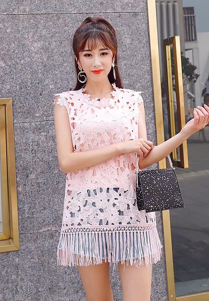 Кружевная блузка с бахрамой 42-46 (в расцветках)
