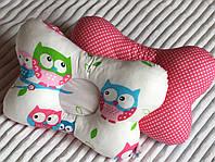 Дитяча ортопедична подушка, двохстороння (сови в рожевих тонах) 25х28 см.
