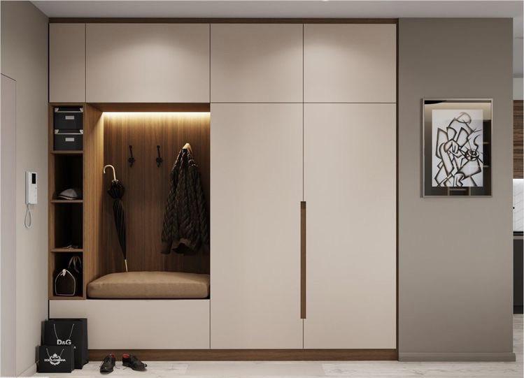 Шкафы для прихожих с мягкой сидушкой и вешалкой на стене