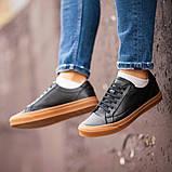 Чоловічі кросівки South Agony BLACK, класичні шкіряні кросівки чоловічі шкіряні кеди, фото 2