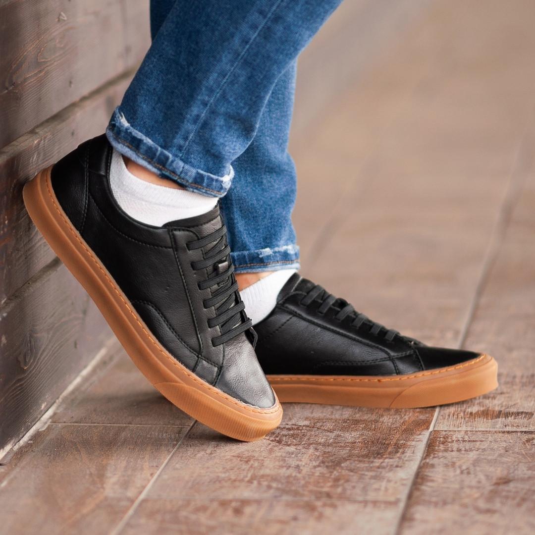 Чоловічі кросівки South Agony BLACK, класичні шкіряні кросівки чоловічі шкіряні кеди