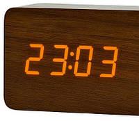 Часы настольные VST-865-3 с оранжевой подсветкой в виде деревянного бруска, фото 1