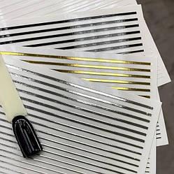 Гнучка стрічка для декору нігтів срібляста