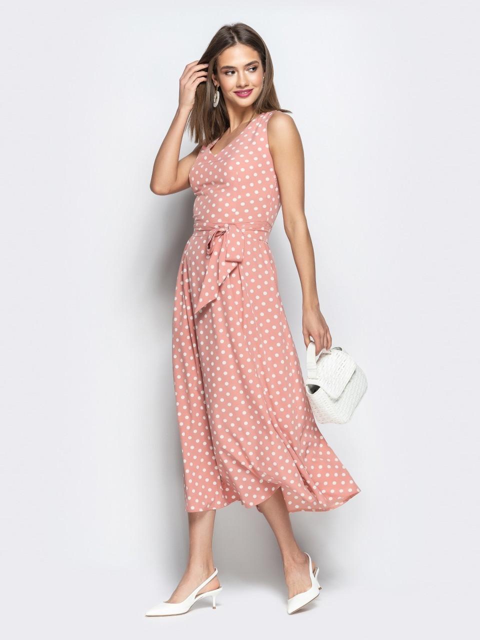 2887413cbc3 Романтичное женское платье в ретро стиле в горошек р.44