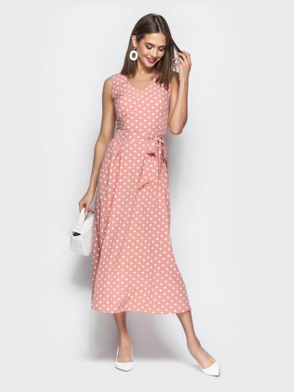 bc2d1a249f2 Романтичное женское платье в ретро стиле в горошек р.44