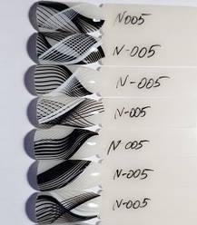 Стрічка для дизайну нігтів ( 3D нитки сплетення гнучкі ) чорна з білим