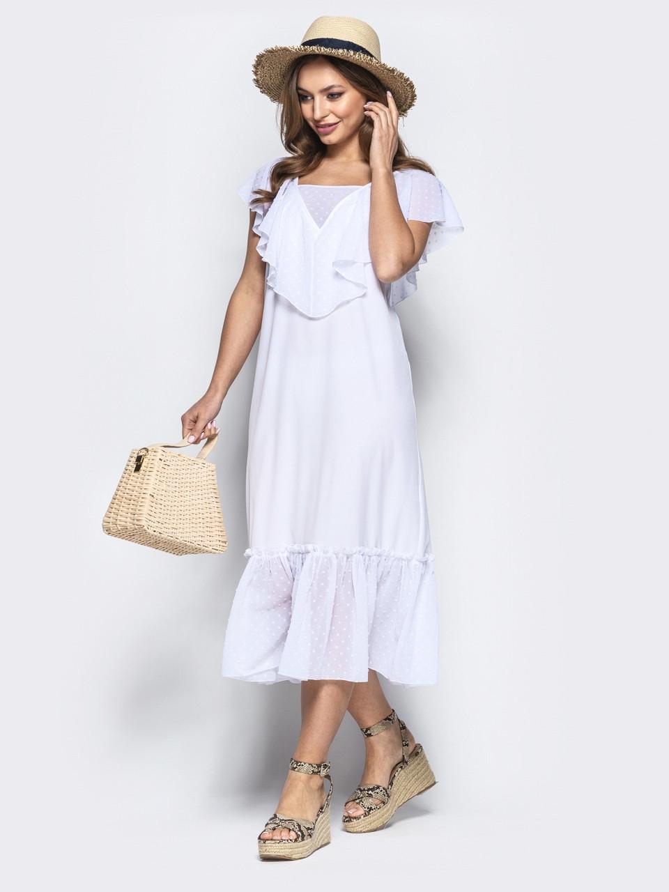 b9d971778c1 Женское белое платье-трапеция с оборкой из шифона р.44