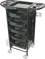 Тележка парикмахерская черная с металлическими боковинами 3015В ABS