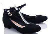 Замшевые черные туфли нарядные на  маленьком каблуке ремешок 36 37 38 39 40 37
