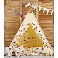 Вигвам Комплект Бежевые Совы с подушкой, детская игровая палатка