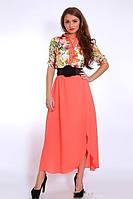Стильное женское платье из королевского шифона в цветы
