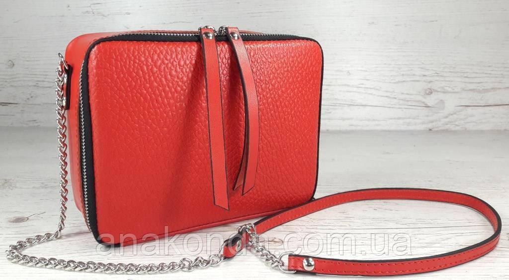 65-4 Натуральная кожа, Сумка женская кросс-боди красно-оранжевая (красная оранжевая алая коралл) с тиснением