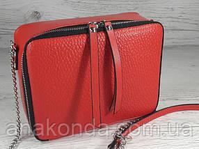 65-4 Натуральная кожа, Сумка женская кросс-боди красно-оранжевая (красная оранжевая алая коралл) с тиснением, фото 2