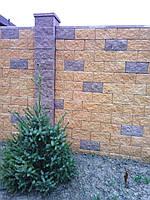 Блок декоративный бетонный 400*200*150 мм - 2-х сторн. скол бордовый